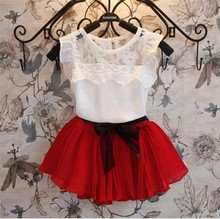 2015 New Girls Princess Dresses t shirt 2 Pcs Set 3 7 Age Layered Tutu Dress