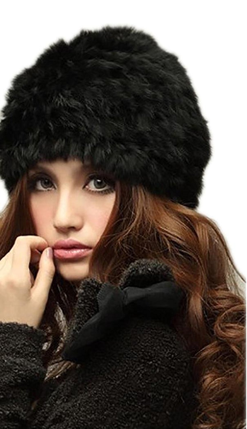 75d37aac760 Get Quotations · Veenajo Womens Winter Hat Knitted Rabbit Fur Hats Beanie  Hats