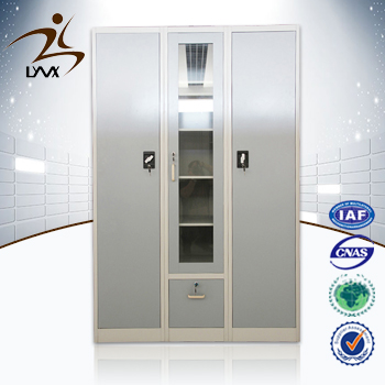Top china furniture high quality 3 door steel cloths cabinet / metal wardrobe