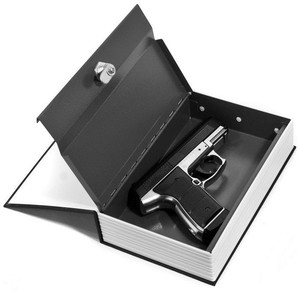 Cash Jewelry Gun Storage Hidden Key Lock Book Safe Box