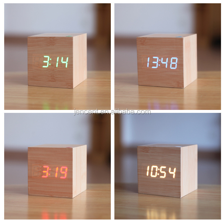 Square Desktop Table Clocks LED Alarm Wood Wooden Digital stand clock with temperature display in green blue white red color