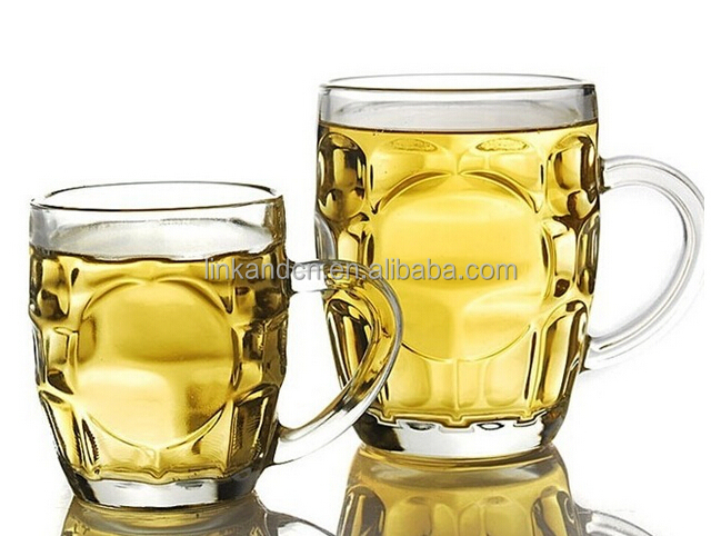 Soft drinking glass mug with metal logo available ,meet FOOD GRADE test