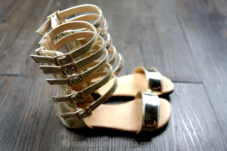2016 new wholesale summer gold toddler gladiator sandals Baby Barefoot Sandals shoes