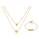 S-295 XuPing Christmas gift bridal african 24K gold plating stainless steel necklace bracelet jewelry set