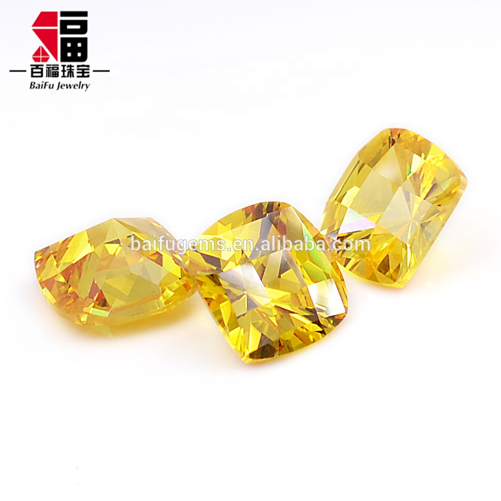 Popular wholesale Korea cut loose cushion gold cut cubic zirconia for silver ring