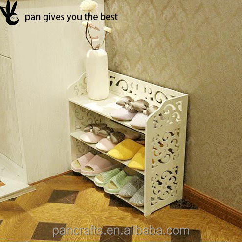Luxury modern style white customized embossing stamp shoe rack wood