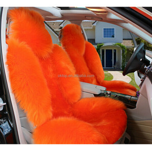 Admirable Dye Orange Sheepskin Fur Car Seat Cover Seat Cover For Car Pabps2019 Chair Design Images Pabps2019Com