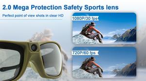 2019 New 1080P HD Camera Glasses Water Resistant IP55 Video Recording Sport Sunglasses - Black