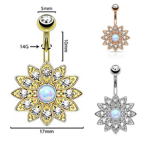 Paved Petite Crystal Flower Belly Bar Navel Ring With Opal Centre