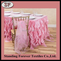 Custom Made Curly Willow Fancy Wedding Ruffled Table Skirt