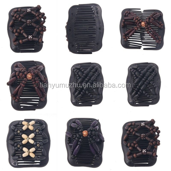 Double Magic Fashion Wood Beaded Hair Combs/clips Slide Style ...