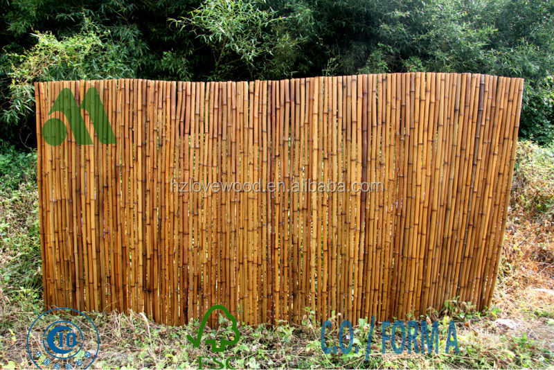 bamboo fencing garden chocolate colour, carbonised fence, cheap fence