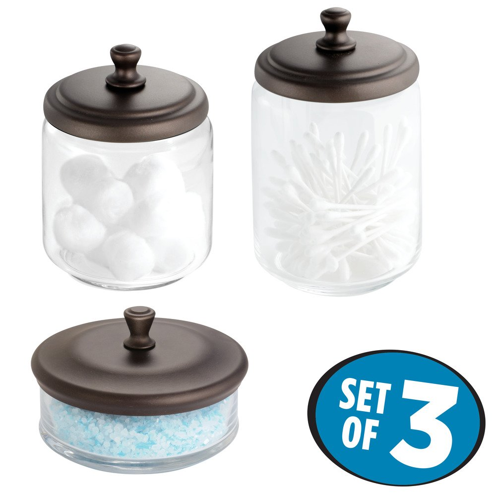 Get Quotations Mdesign Bathroom Vanity Gl Apothecary Jars For Cotton Swabs Cosmetic Pads 3pc