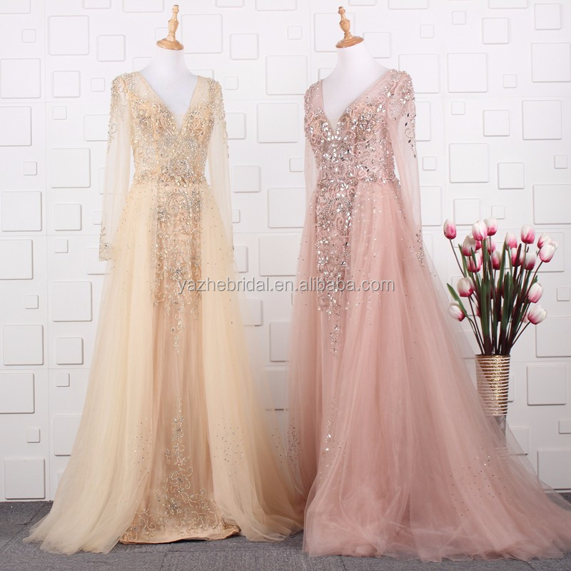 2019 New Coming Top Quality Long Sleeve V Neck Heavy Beaded Champagne/pink  Color Evening Dresses For Fat Women Plus Size Dresses - Buy Evening ...