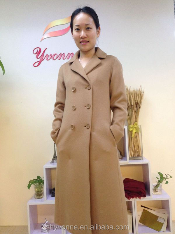 2016 cashmere loose cloth double breasted long style coat