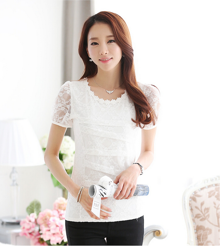 2015 Brand New Plus Size Summer Women t shirt Casual Slim Sexy Lace Women T Shirts Short Sleeve Fashion White