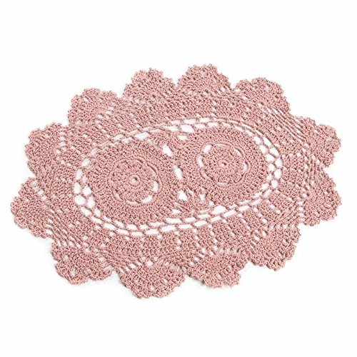 """14"""" Rose Pink Oval Cotton Hand Crocheted Lace Doilies, Set of 2"""