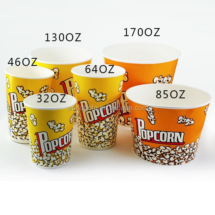 Custom Printed Paper Popcorn Snack Bucket Cups