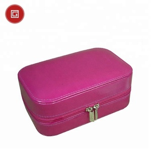 PU PVC velvet small faux leather jewelry box travel with pouch