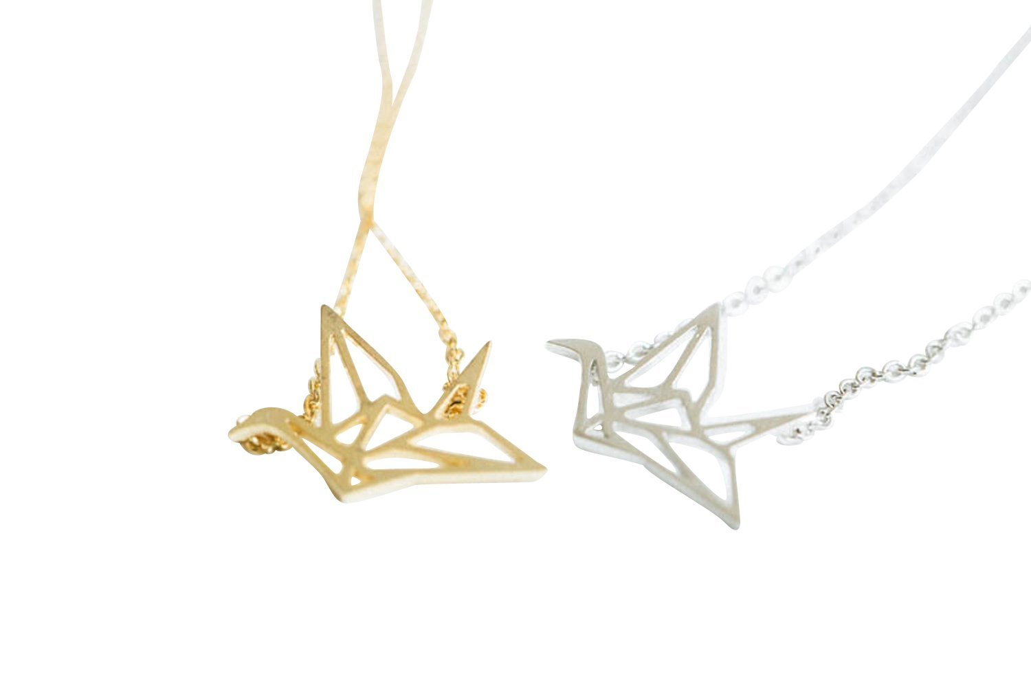 Crane Necklace-fj , crane necklace, papar crane necklace, paper crane pendant necklace, paper crane pendant jewelry, charm necklace, crystal necklace,