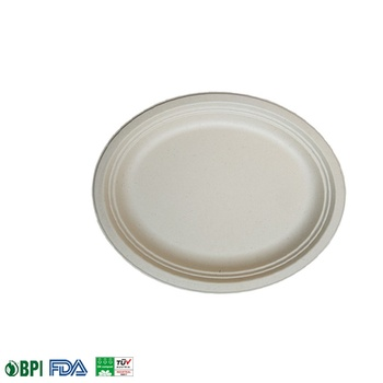 100% Biodegradable & Compostable  bagasse oval plates