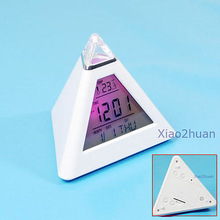 G104New LCD Pyramid Triangle Clock Alarm Multi Color Night
