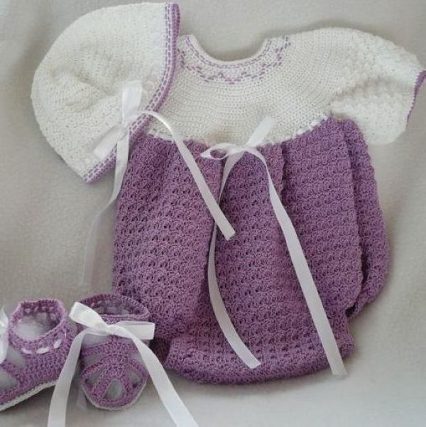 Crochet Baby Hat With Ribbon Pattern : Ribbon Pattern With Hat And Shoes Handmade Baby Dress ...