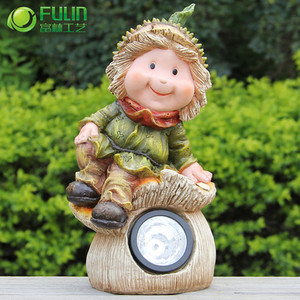 resin elf led solar lawn powered light for garden yard
