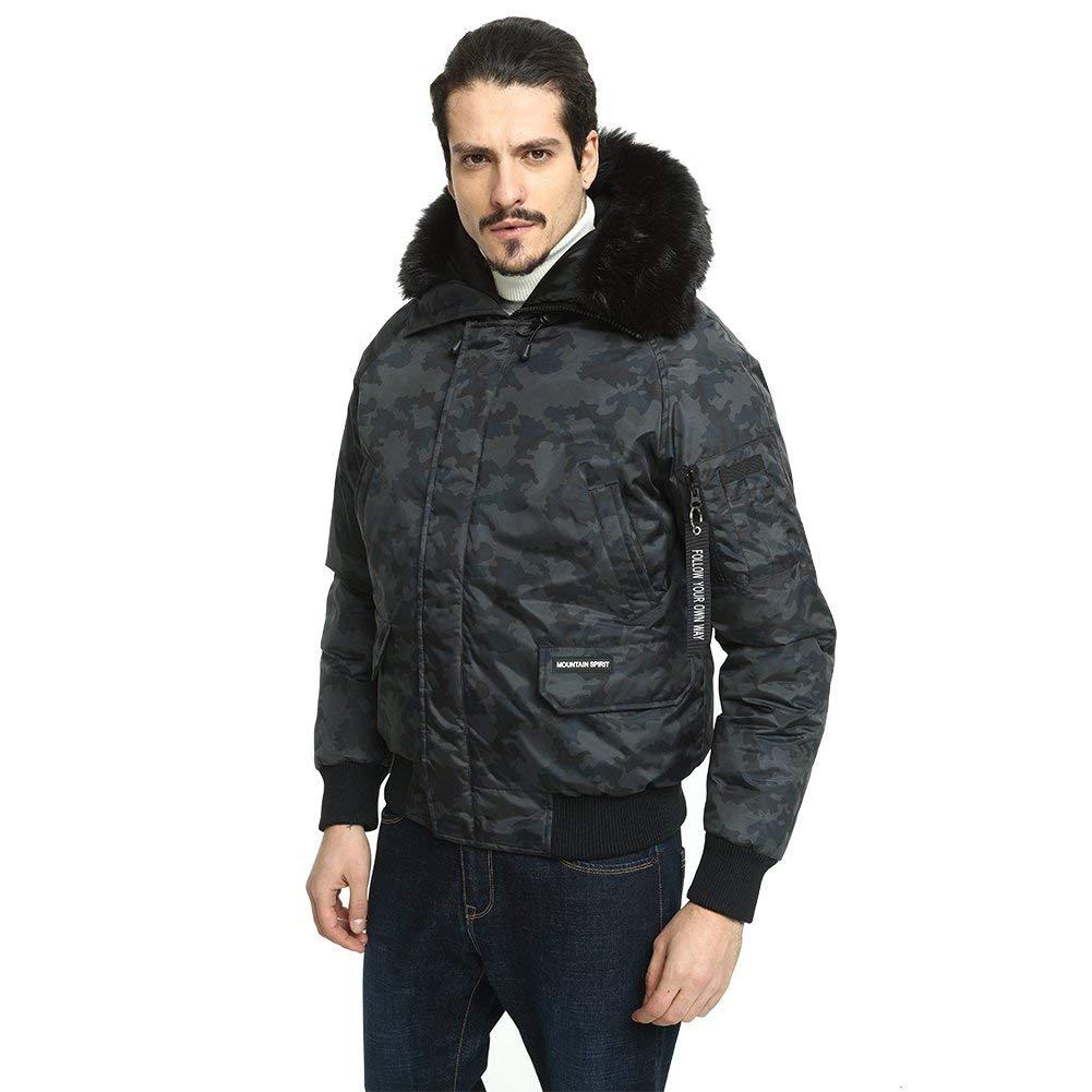 PUREMSX Bomber Jacket, Winter Zipper Pocket Down Alternative Thickend Lined Parachuting Trimmed Hood Outdoor Coat,Camo