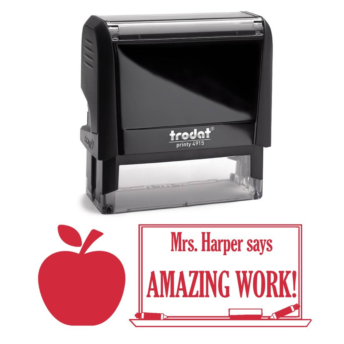 Red Ink, Apple Awesome Job Teacher Stamp, Self Inking, Homework Personalized School Work Stamp, Large 2 Lines, Customized Unique Gift, Personal Classroom Stamper