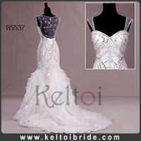 Real samples Long Train Organza Mermaid Suzhou Wedding Dress 2014
