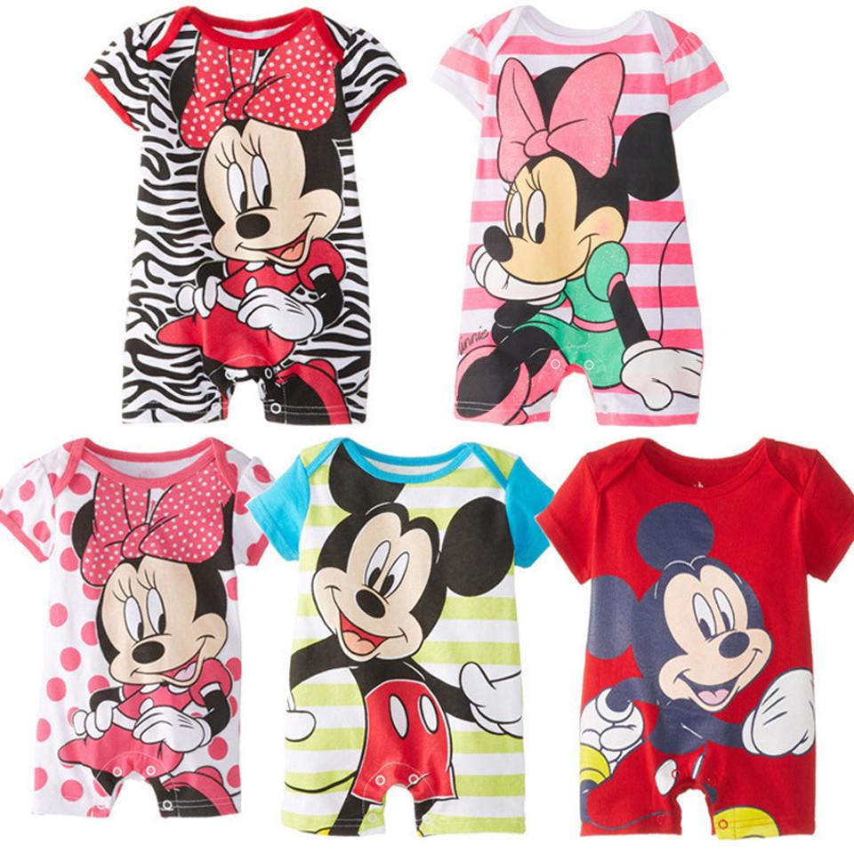 2016 estilo verão macacão de bebê bebê meninas roupas de algodão bonito Mickey Minnie Romper macacões nascidos Ropa Bebes bebê menino roupas