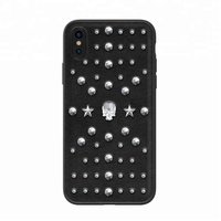 Kingxbar Swarovski Crystals Luxury Bling PU Leather Plastic PC Cell Phone Mobile Cover Hard Phone Case for iPhone X 8 7 Plus 6s