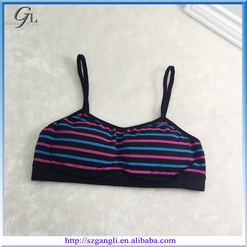Wholesale Girls OEM Striped Padded Sportwear Seamless Inner Bra