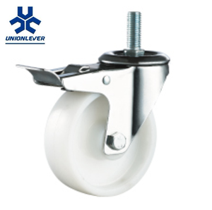 Industrial Stem Threaded White PP Plastic Stainless Steel Caster Wheel With Brakes