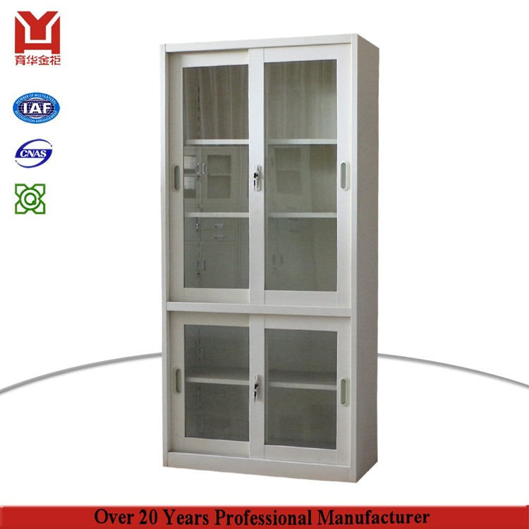 Kd structure space saving glass sliding door steel dispaly for Y h furniture trading
