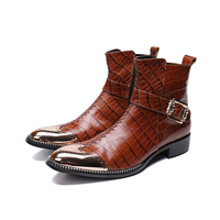 NA113 Plus Size Vintage Pointed Toe Studded Man Cowboy Shoes Italian Genuine Leather High Heel Men's Handmade Martin Ankle Boots