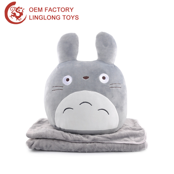 Oem Stuffed Totoro Throw Pillow Cover Gray 2 In 1 Animal Pillow