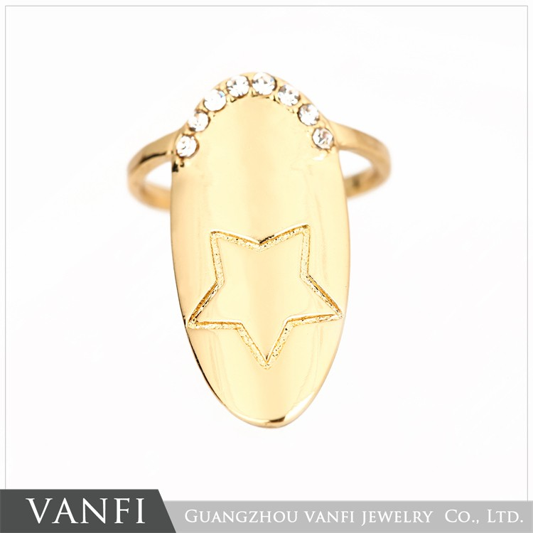 Nuovo fascino di modo mo<em></em>nili placcato oro di cristallo chiodo della barretta di anello per le do<em></em>nne Commercio all'ingrosso, produttore, produzione