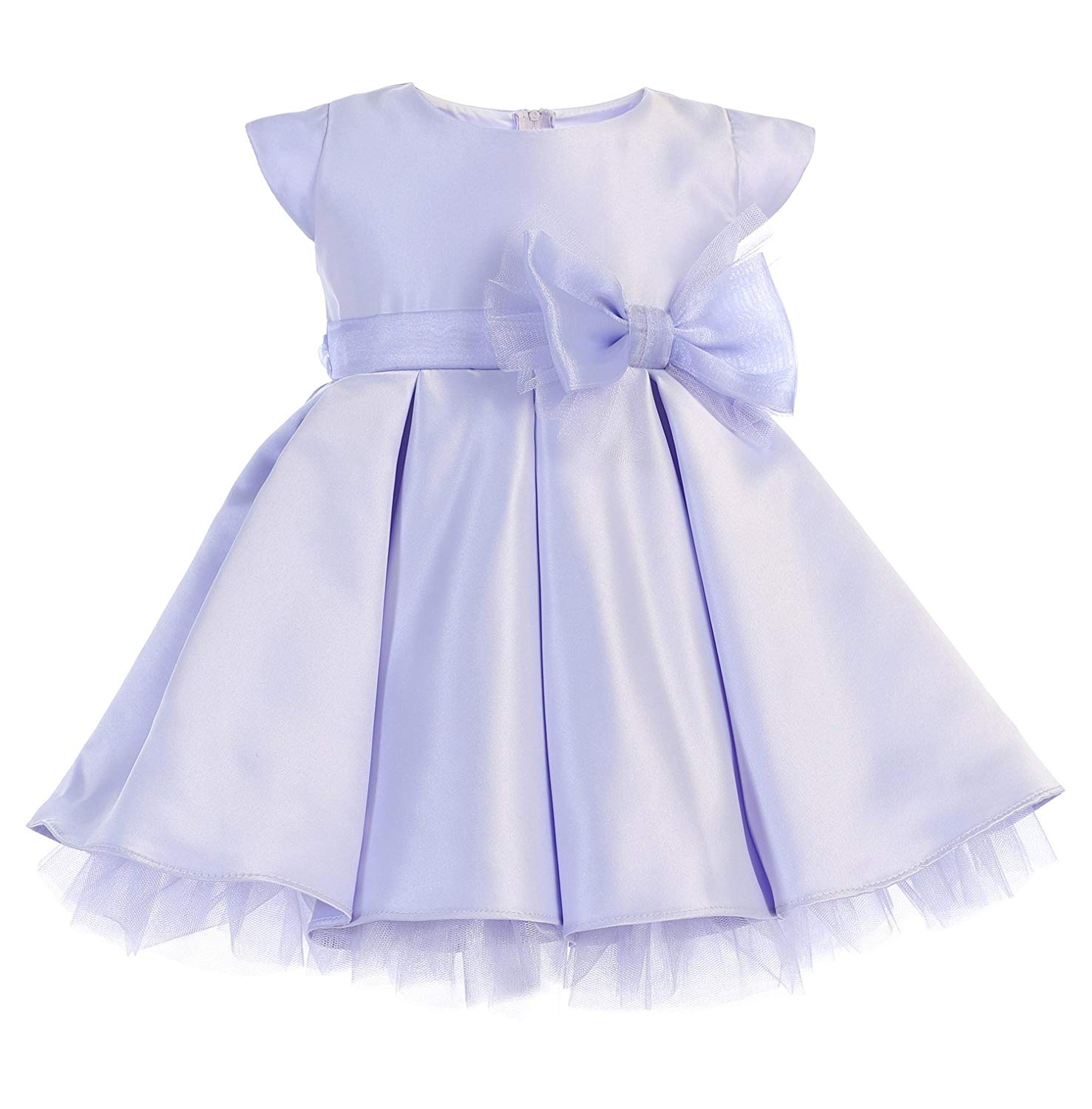 28f8192df36 Get Quotations · New Baby Girls Blue Lilac Mint Satin Tulle Pleated Dress  Wedding Pageant Flower Girl Birthday