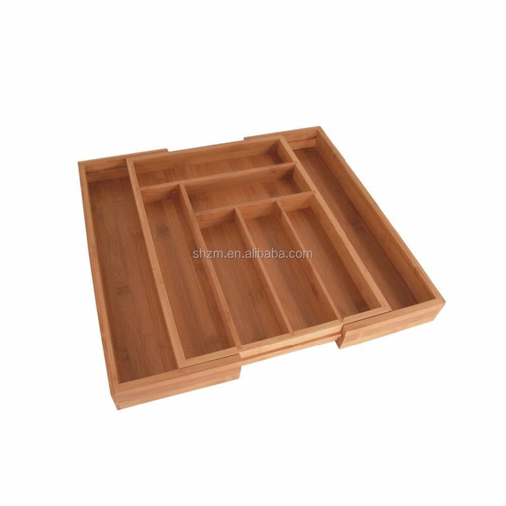 12897704b0c Natural Bamboo Expandable Kitchen Drawer Organizer cutlery Tray