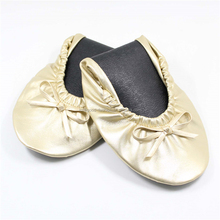 Light Gold Wedding Flat Pumps Women Foldable Ballet Shoes in Bag