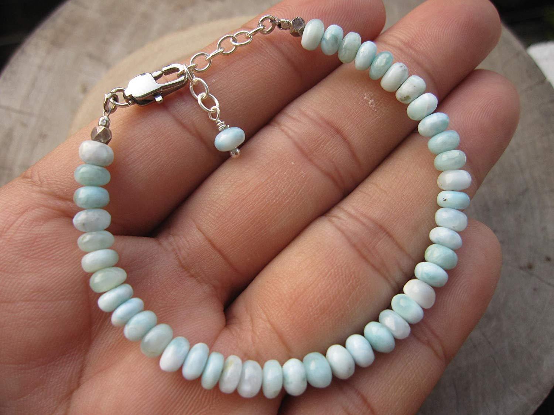 Genuine Larimar,Larimar bracelet,Rough larimar bracelet,Larimar jewelry,Larimar bead bracelet, - Custom size 6.5,7,7.5 ,8,8.5