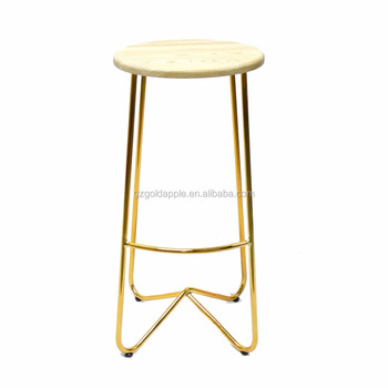 Miraculous Plating Gold Color High Wire Stool Metal Stool With Wooden Top Buy Gold Color Stool Wire Stools Metal Stool With Wooden Top Product On Alibaba Com Machost Co Dining Chair Design Ideas Machostcouk