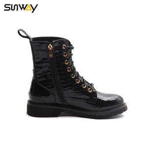 SUNWAY Manufacturing Company Cheap Black PU Upper Waxed Lace Up Lady Ankle Boots