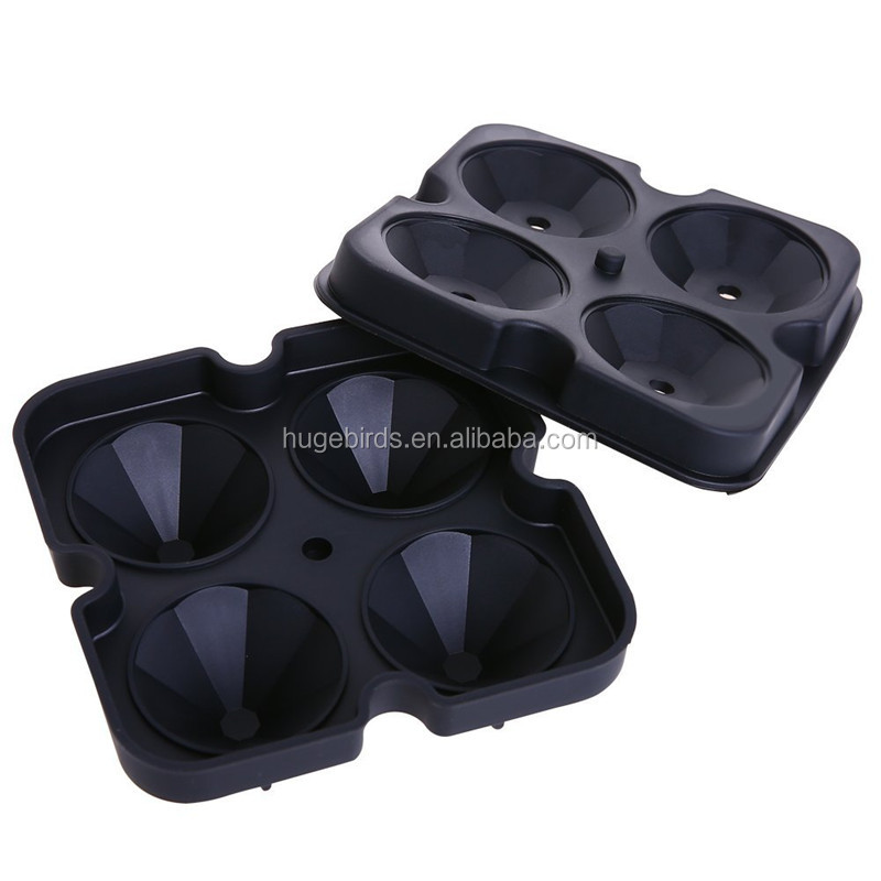 2018 New Design Diamond Shape Silicone Ice Cube Tray With 4 Ice Cube Molds