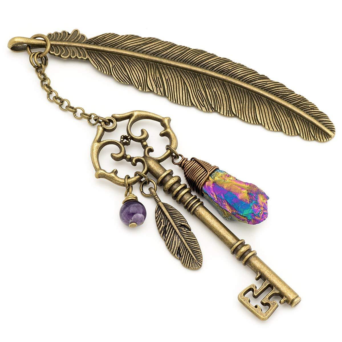 Rainbow amethyst gemstone point key and feather bronze metal unique bookmark