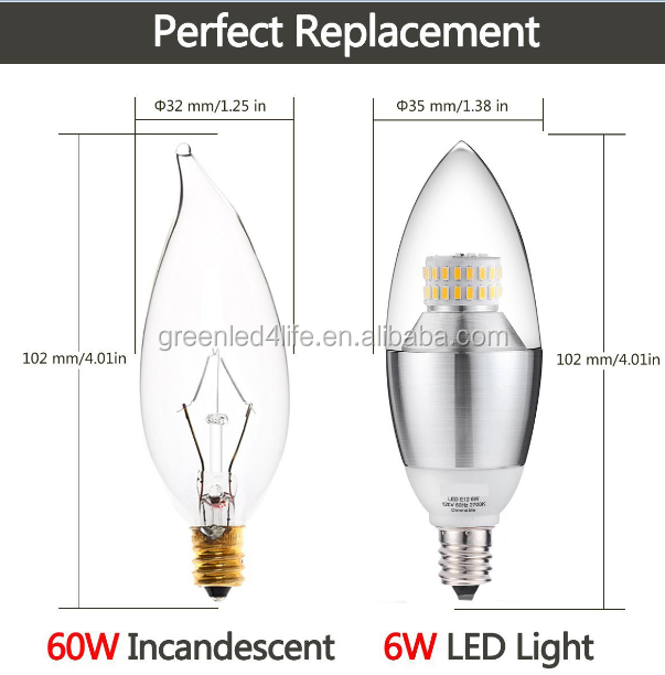 Wholesale dimmable 6W candle bulb E12 E14 chandelier, used to a ...