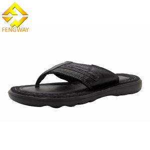 47a2d5180ea4 Comfortable men black flip flop leather slippers sandals