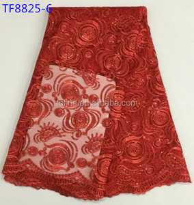 High quality african sequence tulle lace fabric bride Red French lace for Nigerian wedding dresses